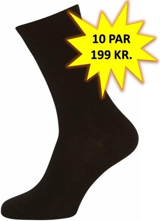Image of   10 Par Sorte Sokker Størrelse 40-47 (10-pak)