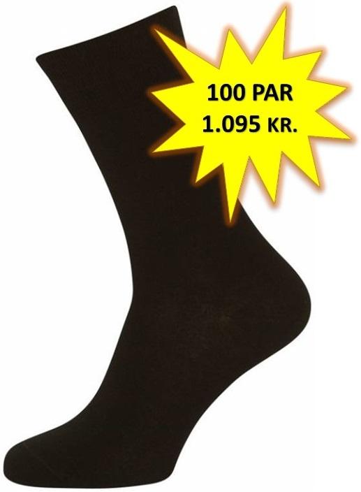 100 Par Sorte Sokker Størrelse 40-47 (100-pak)