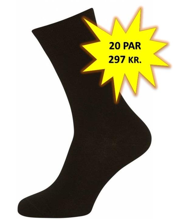 Image of   20 Par Sorte Sokker Størrelse 40-47 (20-pak)