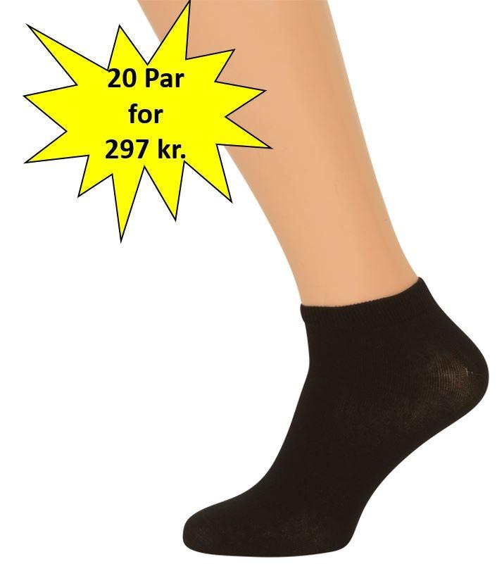 Image of   20 Par Sorte Ankelsokker (Korte Sokker)