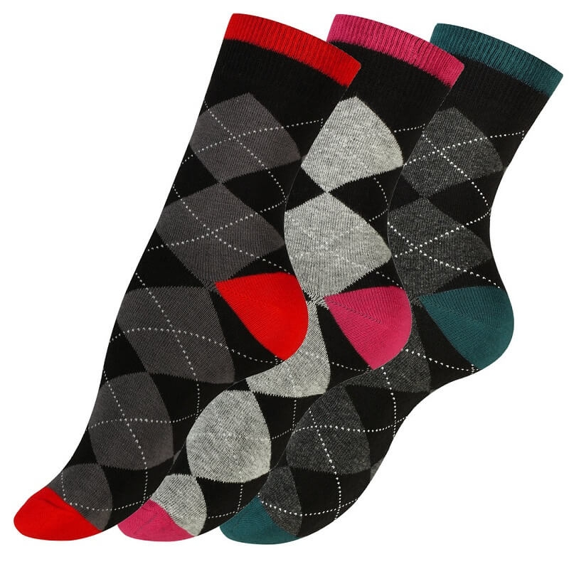 "vincent – 3-pak casual damestrømper ""check"" - str. 39-42 på shopwithsocks"