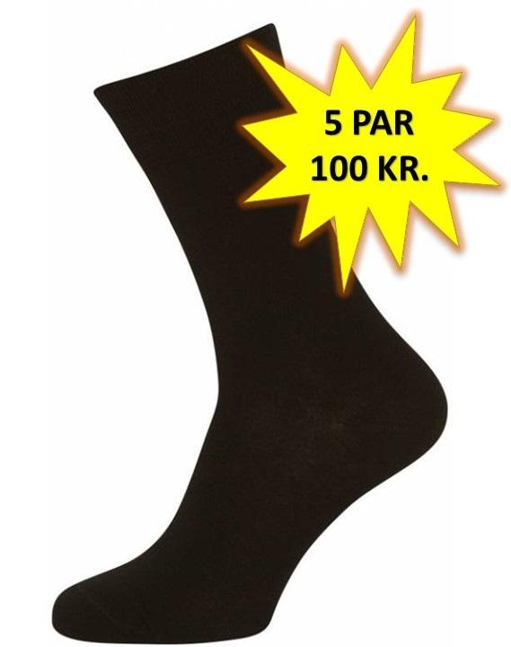 5 Par Sorte Sokker Størrelse 40-47 (5-pak)
