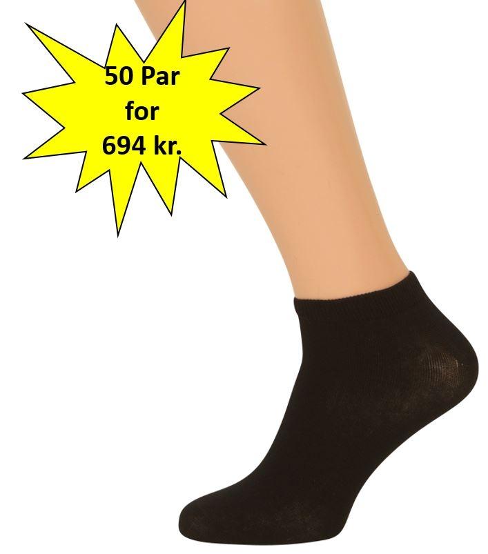 Image of   50 Par Sorte Ankelsokker (Korte Sokker)