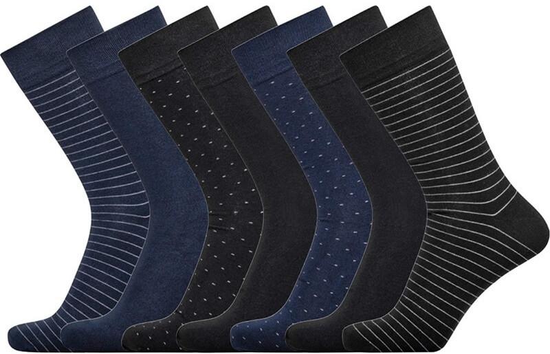 jbs – 7 par jbs bambus strømper i gaveæske, sort, grå, blå - str. 41-44 på shopwithsocks