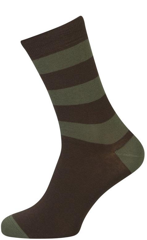 Brune Strømper Med Grønne Striber - Str. 39-42