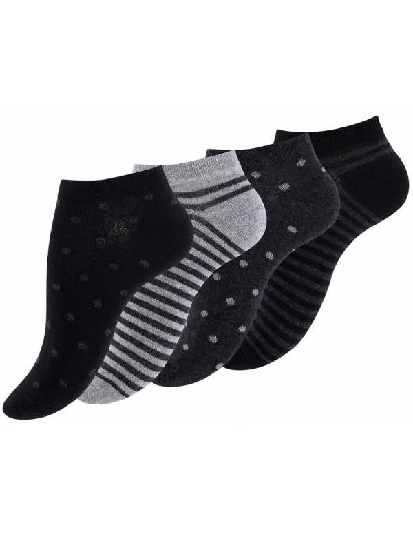 Ankelsokker Damer 4-pak, Sort og grå (Korte Sokker)