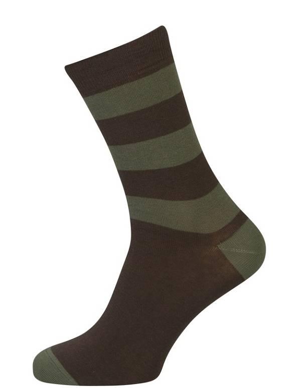Brune sokker med striber størrelse 39-54