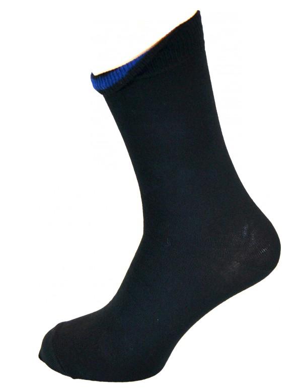 Sort sok med indvendig Blå markering Str. 35-46