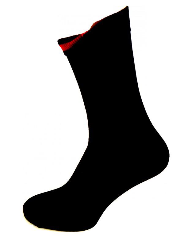 Sort sok med indvendig Rød markering Str. 35-46