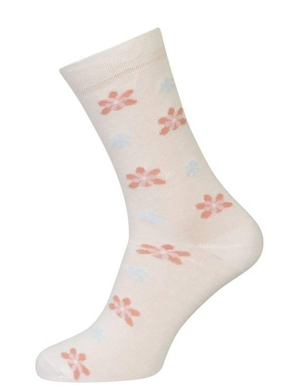 Hvide strømper med blomster størrelse 35-38