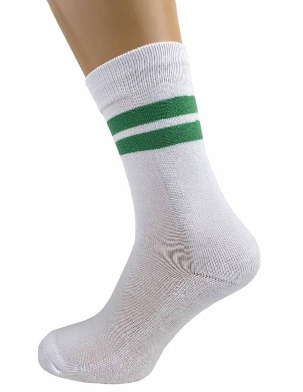 Hvide tennissokker med grønne striber