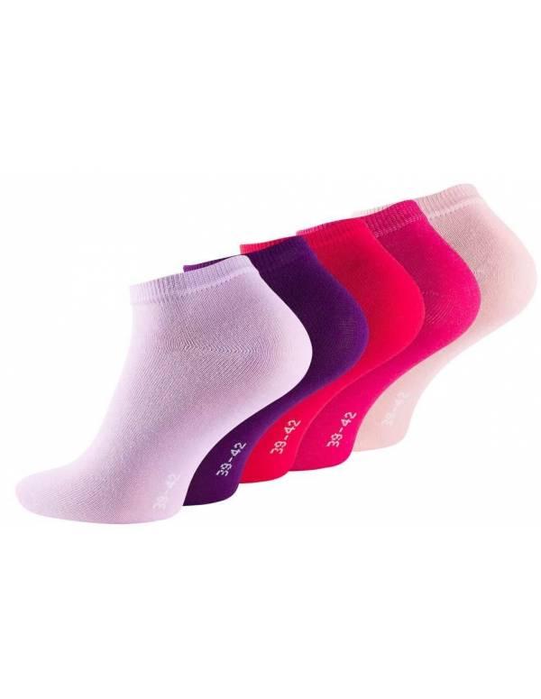 5-Pak Sneaker Socks (Korte Sokker) Lilla, Rød, Lyserød