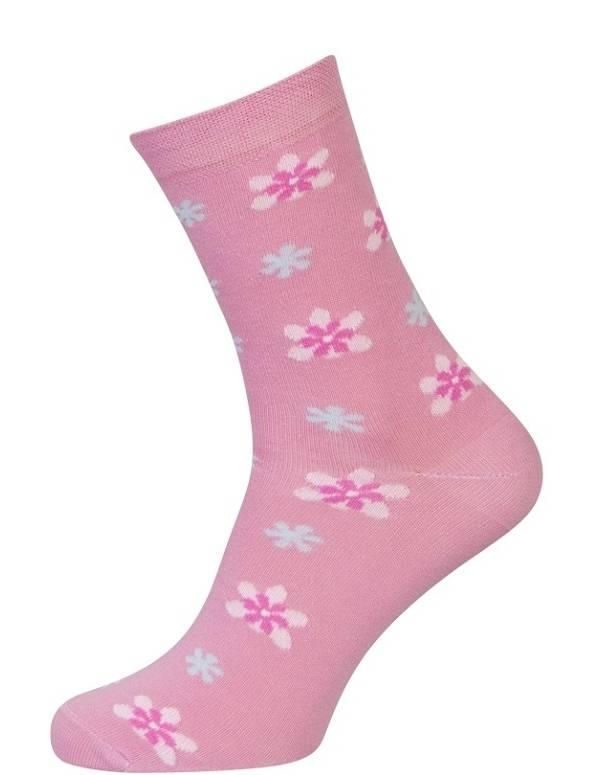 Lyserøde Sokker Med Blomster - Str. 39-42