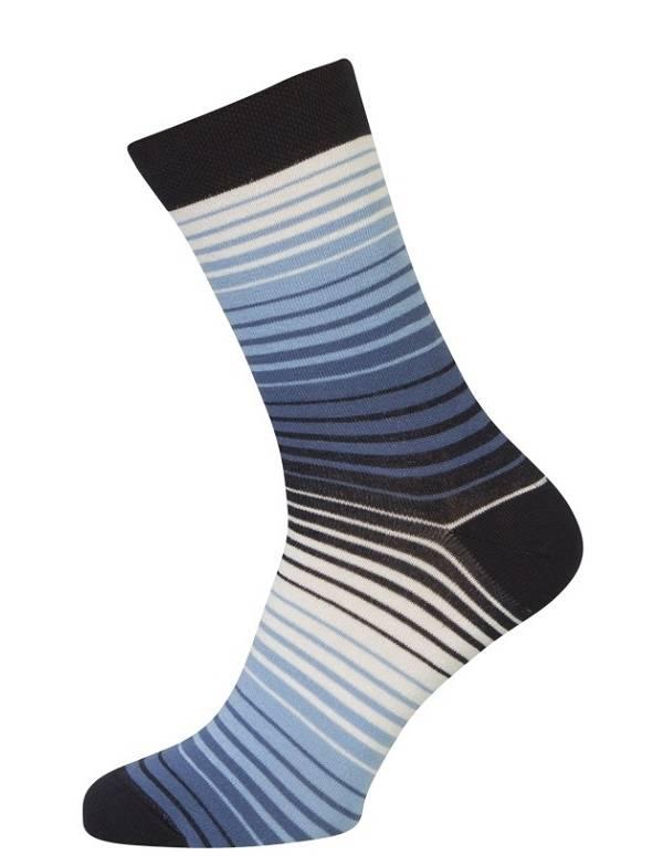 Sokker med blå og hvide striber