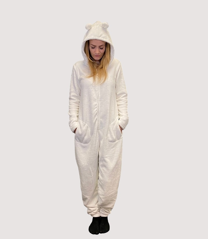 Image of   Hvid Decoy jumpsuit med ører - Str. medium