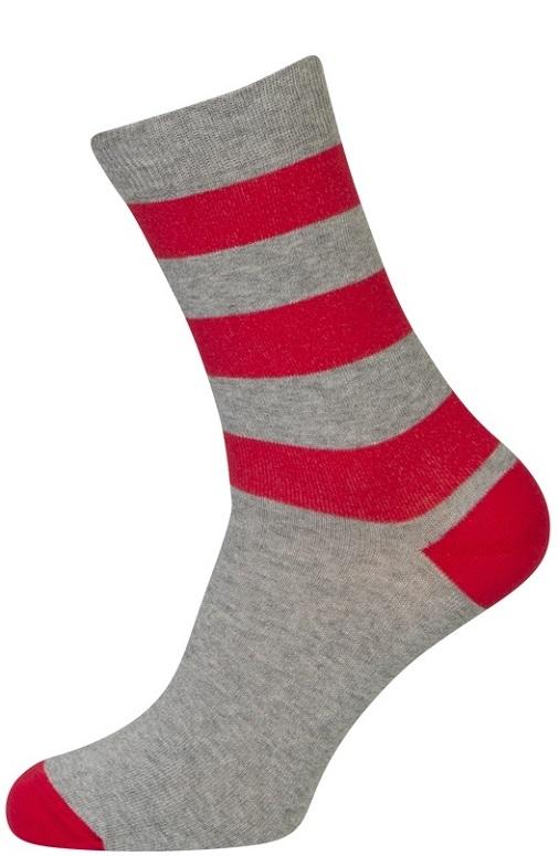 Grå strømper med røde striber - str. 47-50 fra shopwithsocks fra shopwithsocks