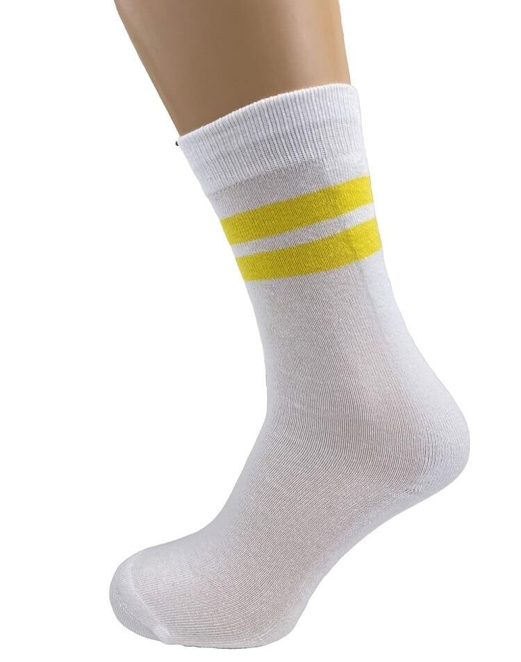 Image of   Hvide tennisstrømper med gule striber - Str. 40-47