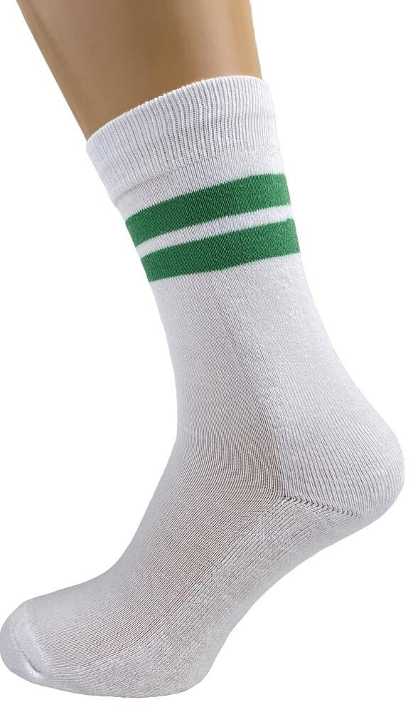 Image of   Hvide tennisstrømper med grønne striber - Str. 40-47