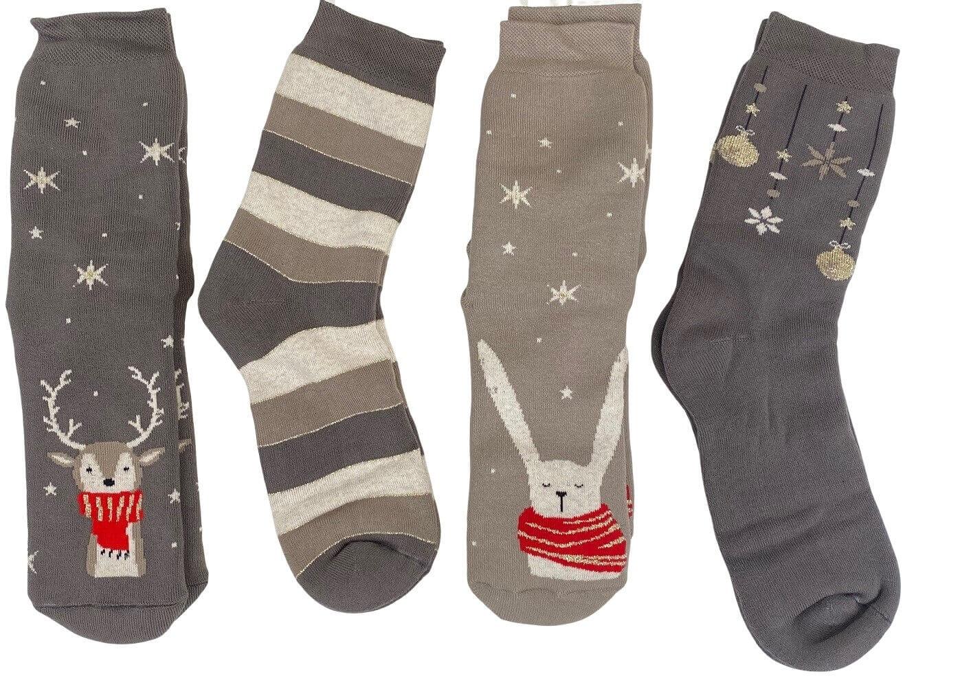 Image of   4 par julestrømper i gaveæske grå og guld Vinterstrik - str. 35-38