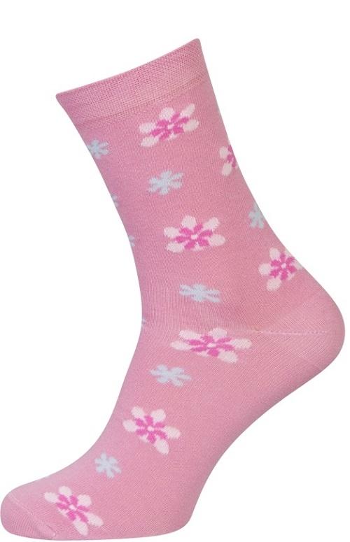 Lyserøde sokker med blomster - str. 39-42 fra shopwithsocks på shopwithsocks