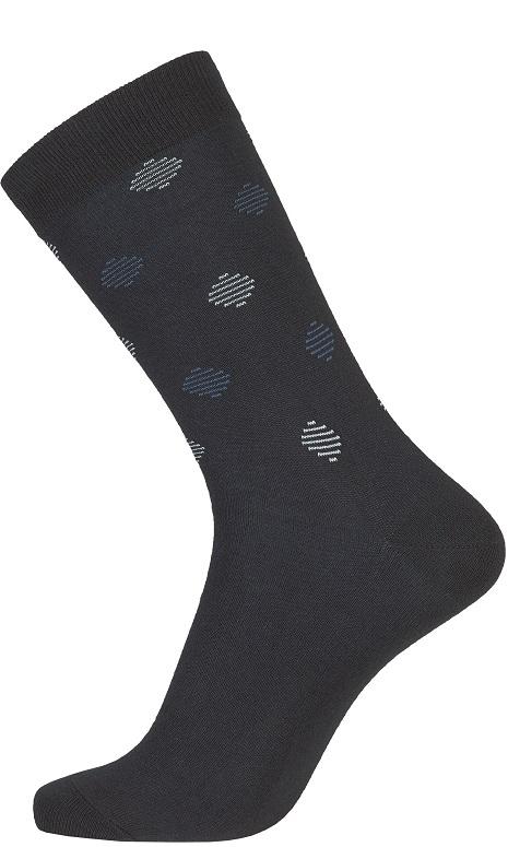 Mørkeblå Egtved Bambusstrømper Med Mønster Str. 40-45