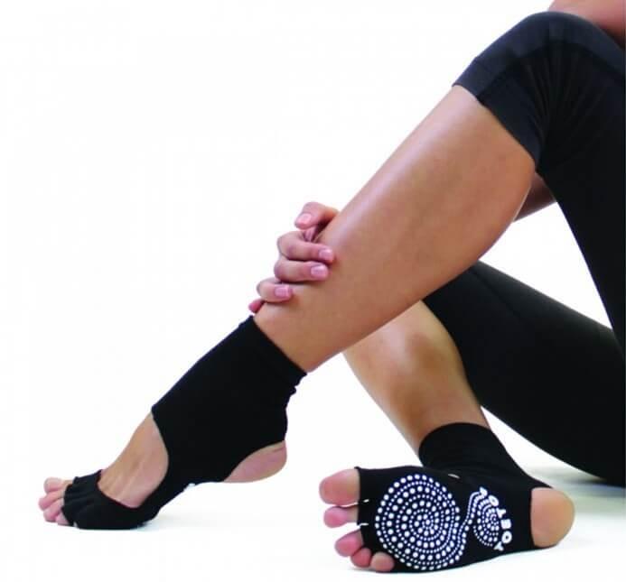 ToeToe Yoga/Pilates Åben Hæl og Tå Sort - Str. 40-43