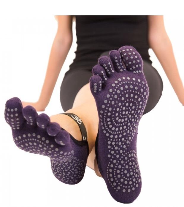 ToeToe Yoga & Pilates Foot Cover Anti-Slip, Lilla - Str. 40-43
