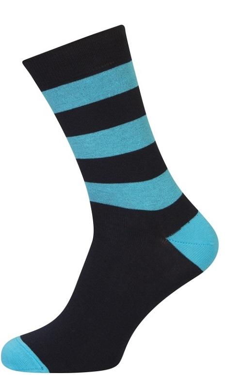shopwithsocks – Sorte strømper med blå striber - str. 39-42 fra shopwithsocks