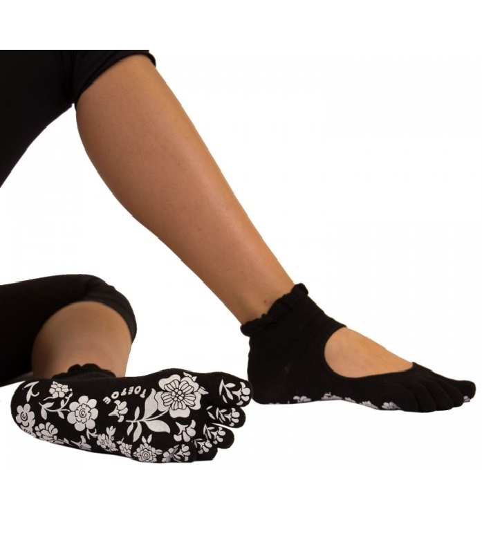 toetoe – Sorte yoga & pilates anti-slip tåstrømper str. 36-39 på shopwithsocks
