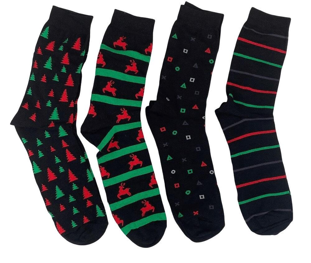 Image of   4 par strømper med julemotiv i gaveæske - Str. 39-42