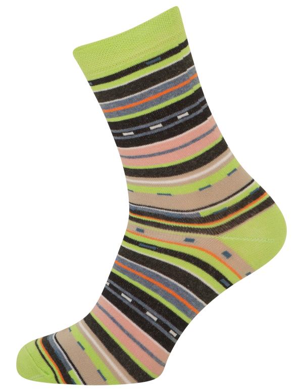 Grønne Sokker Med Striber - Str. 39-42